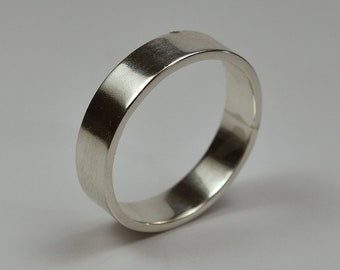 Mens Wedding Ring Band Silver. Classic Style. Flat Shape 6mm