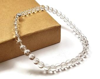 Mens Beaded Rock Crystal Bracelet. 4mm Rock Crystal Beads. Transparent Bracelet