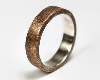 Mens Raw Brushed Antique Copper Wedding Band Ring. Unisex Copper Wedding Band. Antique Style. Flat Shape 6mm