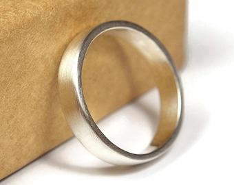 Unisex Sterling Silver Wedding Band Ring. Matte Finish. Minimalist Style. Flat Shape 4mm