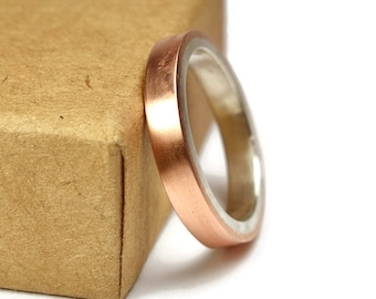 Womens Copper Matte Wedding Band Ring. Unisex Copper Wedding Band. Modern Style. Flat Shape 4mm
