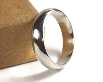 Mens Half Round Simple Wedding Ring. Classic Style. Half Round Shape 6mm