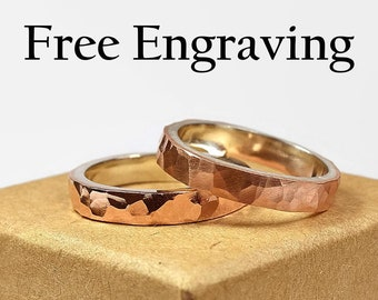 4mm Hammered Copper and Silver Wedding Band Set Couples Copper Wedding Band Rustic Inside Free Engraving Custom Engraving