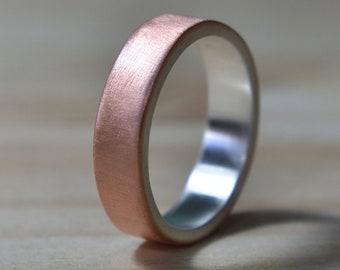 Mens Flat Copper Wedding Band. Copper Matte Wedding Ring for Men. Mens Wedding Rings. Matte Wedding Band. Wedding Band for Men