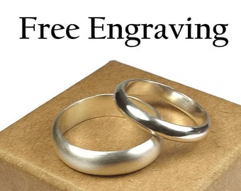 Wedding Band Set Sterling Silver. Wedding Bands Couples Sterling Silver, Classic Style. Inside Ring Engraving Half Round Shape 4mm and 6mm