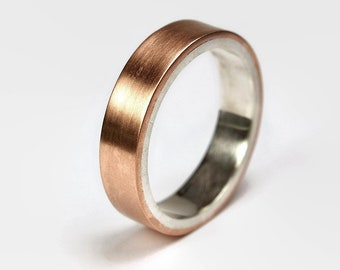 Mens Copper Matte Wedding Band Ring. Modern Style. Flat Shape 6mm
