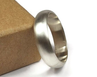 Mens Half Round Simple Wedding Ring. Matte Finish. Classic Style. Half Round Shape 6mm
