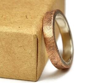 Antique Copper Wedding Band. Unisex Copper Wedding Band. Antique Style. Flat Shape 4mm