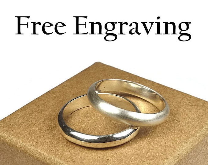 Minimalist Wedding Ring Set, His and Hers Promise Rings, Classic Style. Traditional Wedding Ring Set. Custom engraving Half Round Shape 4mm