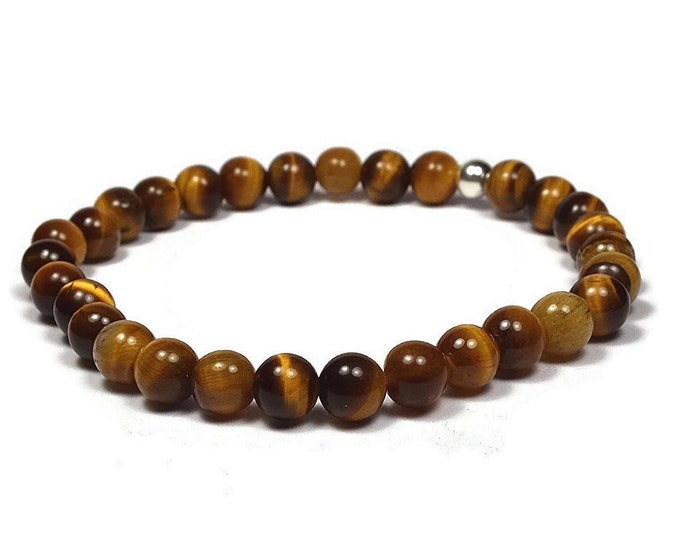 Eye Tiger and Sterling Silver 6mm Beaded Bracelet, Brown Eye Tiger Beaded Bracelet