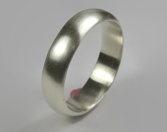 Mens Sterling Silver Wedding Band Ring. Classic Matte Style. Half Round Shape 6mm