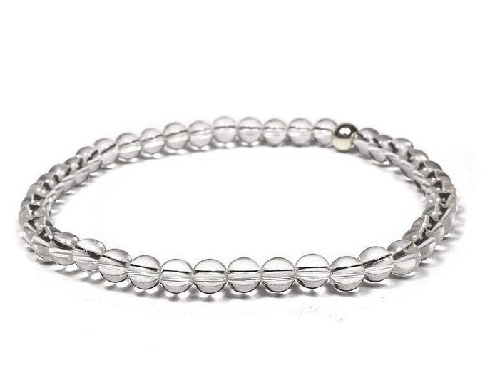 Rock Crystal and Sterling Silver 4mm Beaded Bracelet, Transparent Rock Crystal Beaded Bracelet