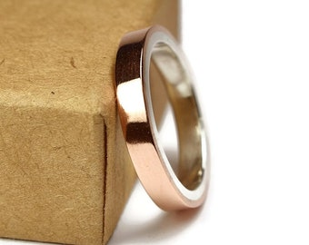 Womens Copper Wedding Band Ring. Unisex Copper Wedding Band. Modern Style. Flat Shape 4mm