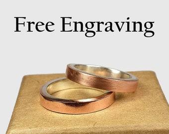 Copper Wedding Band Set. Couples Ring Set,  Minimalist Style. 4mm Modern Wedding Band Set Inside ring engraving Custom engraving