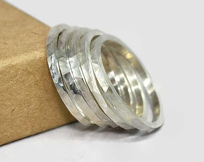 Mens Stacking Rings Stacking Hammered Silver Ring Set Hammered Silver Modern Stacking Rings Silver Mens Polished Matte Sterling Silver Ring