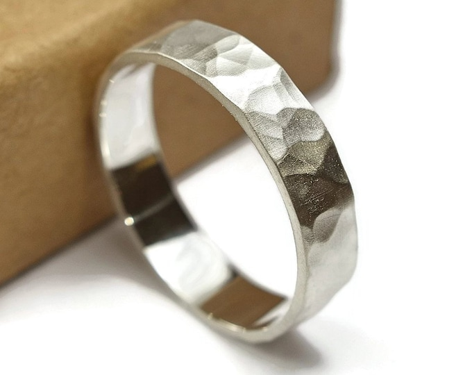 Mens Sterling Silver Wedding Band Ring. Promise Ring for Men, Matte Finish. Rustic Style. Flat Hammered Shape 6mm