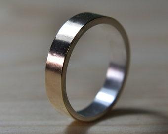 Mens Gold Wedding Band Ring. Unisex Yellow Gold Wedding Band Ring. Mens Gold and Silver Ring. Mens Gold and Silver Wedding Band Ring