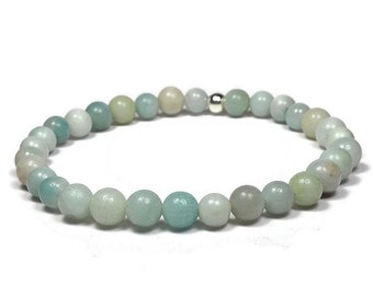 Amazonite and Sterling Silver 6mm Beaded Bracelet, Green Amazonite Beaded Bracelet