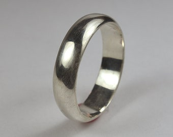 Mens Sterling Silver Wedding Band Ring. Classic Polished Style. Half Round Shape 6mm