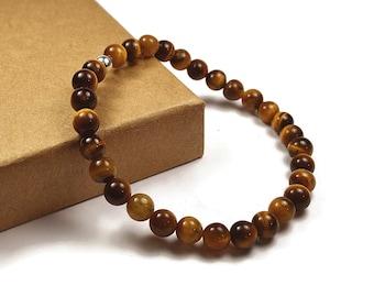 Mens Beaded Eye Tiger Bracelet. 6mm Eye Tiger Beads. Brown Bracelet