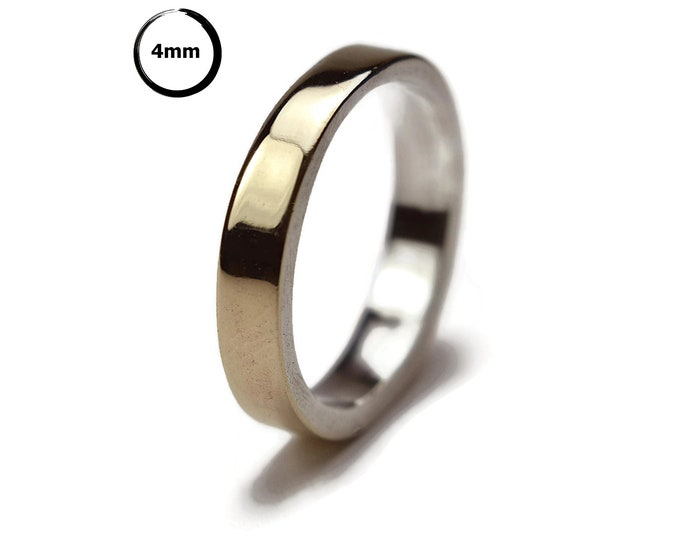 Modern 9k Gold and Silver Wedding Band Ring, Urban Polished Gold and Silver Wedding Band Ring, Gold Ring Engraved, 4mm Gold Wedding Ring