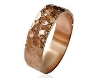 Hammered Red Bronze Wedding Ring, Men's Hammered Bronze Wedding Band, Rustic Bronze Ring, Custom Free Engraving, Polished Ring 6mm