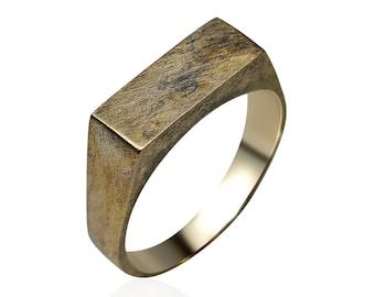 Men's Custom Signet Antique Brass Ring. Men's Signet Ring. Antique Signet Brass Ring for Men. Signet Ring Antique Brass