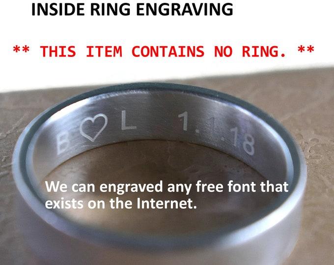 Profesional Engraving Outside / Inside Wedding Band Ring. Customize Engraving Outside / Inside Ring