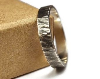 Tree Bark Antique Rustic Rings. Nature Rustic Antique Style. Oxidized finished. Tree Bark Texture, Flat Shape 4mm