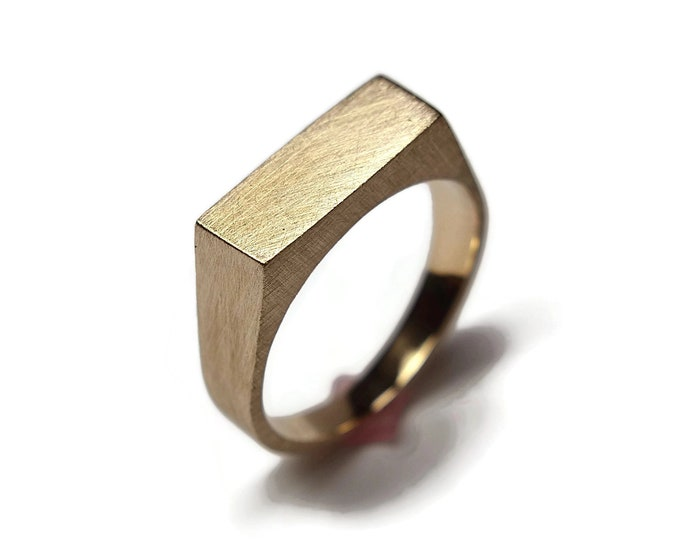Mens Custom Matte Brass Signet Ring. Mens Signet Ring Men Matte Brass. Signet Rings Men Matte Brass. Signet Ring for Men Matte Brass