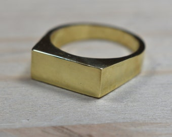 Mens Custom Brass Signet Ring. Mens Signet Ring Men Brass. Signet Ring for Men Brass. Signet Rings Men Brass
