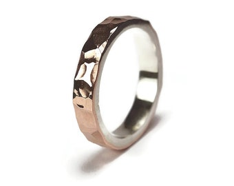 Hammered Copper Ring. Hammered Copper Ring for Woman. Hammered Copper Wedding Band Ring. Hammered Copper and Silver Ring. Polished Ring 4mm