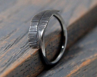 Mens Viking Ring. Rustic Sterling Silver Viking Ring - Black Rhodium Plated & Textured Organic Jewelry Gifts for Men or women. Rustic Ring