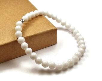 Mens Beaded White Onyx Bracelet. 6mm White Onyx Beads. White Bracelet