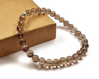 Mens Beaded Smoky Quartz Bracelet. 6mm Smoky Quartz Beads. Brown Bracelet