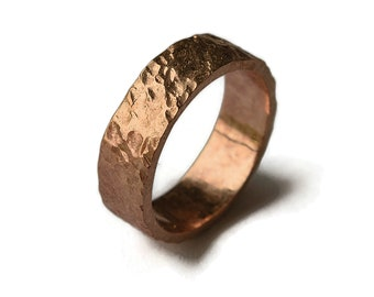 Red Bronze Volcanic Ring   Bronze Rustic Wedding Ring   Custom Lava Ring   Finish Polished
