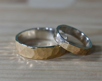 Hammered Wedding Rings Set 9K Gold Yellow and Silver. Hammered Wedding Bands His and Hers. Hammered 9k Gold Wedding Bands Set His and Hers