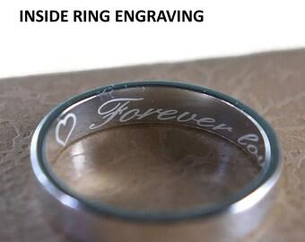 Profesional Engraving Inside Wedding Band Rings. Customize Engraving Inside Rings