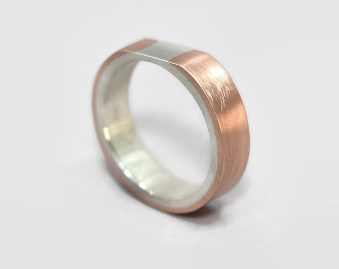 Modern Copper and Silver Wedding Band Ring Original Matte Copper Silver Wedding Band Ring for Men Mens Copper Wedding Band Ring Gift for Him