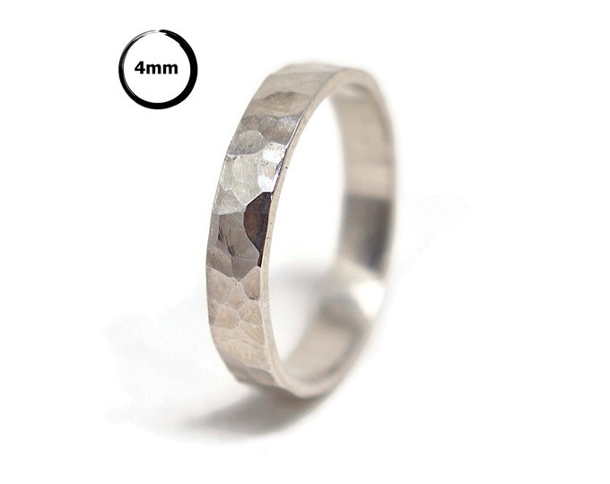 Hammered Silver Wedding Band Ring. Rustic Sterling Silver Wedding Ring. Personalized Silver Ring. Free Engraving. Polished Ring 4mm