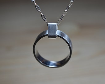 Mens Ring Pendant Necklace. Mens Custom Pendant Ring. Convert Ring Pendant