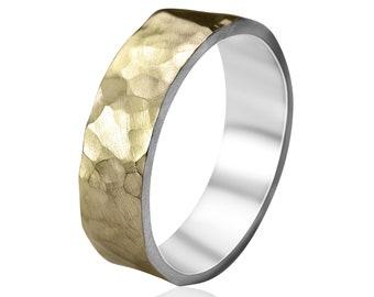 Men's Hammered 9k Gold Wedding Band. Hammered 9k Gold Matte Wedding Ring for Men. Men's Wedding Rings. Hammered Gold Wedding Band. Matte 6mm