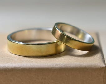 Wedding Rings Set Gold Plated Silver. Wedding Bands His and Hers. Wedding Bands Set. Wedding Bands Set His and Hers