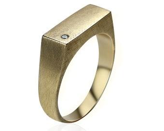 Men's Custom Ring.  Men's Signet Ring With Cubic Zirconia. Brass Signet Ring.  Custom Ring With Cubic Zirconia.  Engraved Rectangle Ring