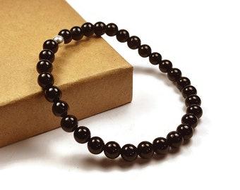 Mens Beaded Black Onyx Bracelet. 6mm Black Onyx Beads. Black Bracelet