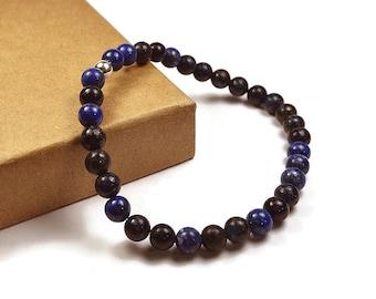 Mens Beaded Lapis Lazuli Bracelet. 6mm Lapis Lazuli Beads. Blue Bracelet