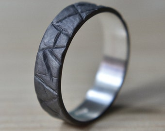 Mens Black Promise Silver Wedding Band Ring. Rustic Style. Flat Shape 6mm