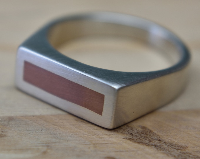 Mens Signet Ring in Sterling Silver & Copper. Modern Style. Wide 8mm