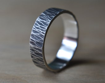 Mens Antique Rustic Silver Wedding Band Tree Bark. Antique Rustic Silver Wedding Ring. Mens Antique Rustic Silver Ring