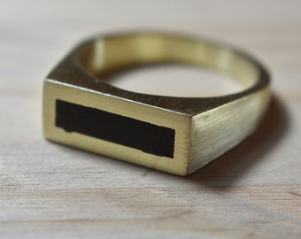 Mens Brass and Ebony Ring. Matte Finish. Urban Minimalist Style. Signet Ring 8mm